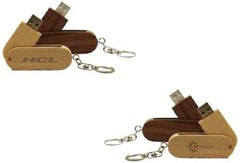 Wooden swivel keychain USB Drive